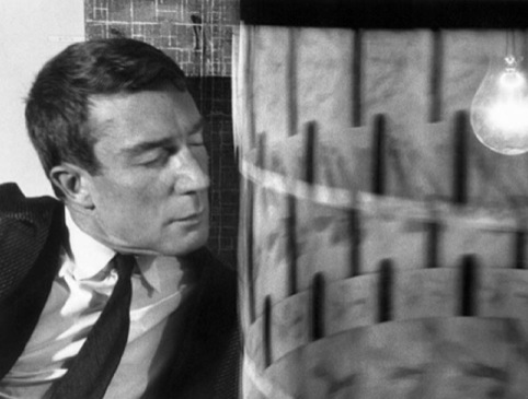 Brion Gysin with the Dreamachine at Musee des art Decoratifs Paris, 1962.