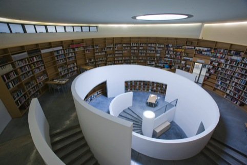 The library at the Tadao Ando Fabrica campus