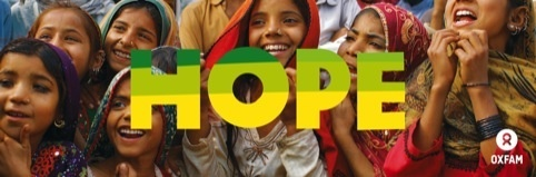 Campaign image using the new Oxfam branding