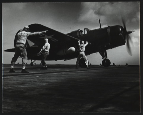 Plane on a US aircraft Carrier c.1942