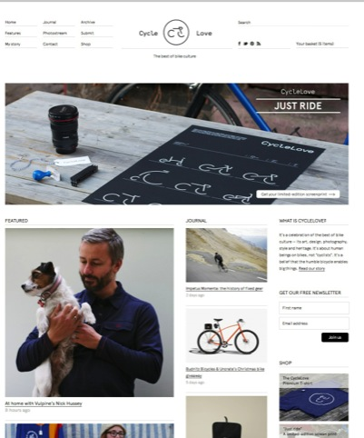 The Cycle Love homepage