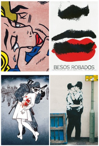 Spoofing the VJ Day scene, Banksy's policemen, and other kisses