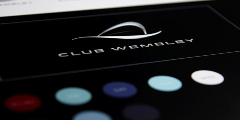 Club Wembley identity with palette