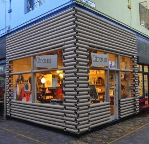 A 'cardboard log cabin' designed by Studio DB for Circus in Brixton Market