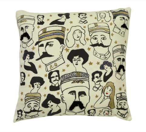Cushion with moustachioed men design