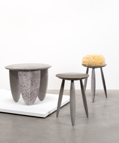 From left to right:Wolffish-pig stool, Studs stool, Salmon stool
