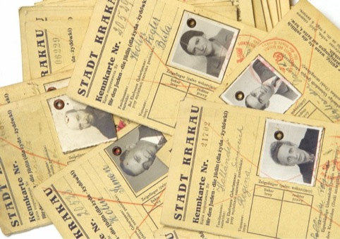 Identity cards of people who suffered persecution in the Holocaust, on display at IWM North