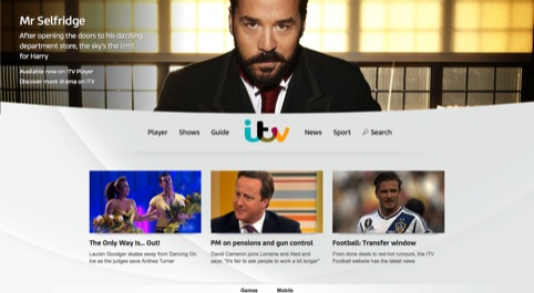 The new ITV homepage