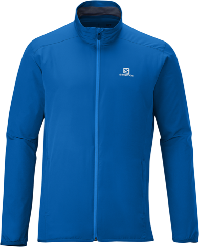 Salomon logo shown on blue trail jacket