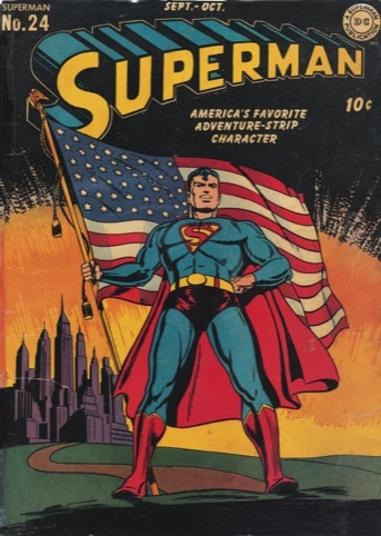 Superman No. 24. Cover art, Jack Burnley, September–October 1943.
