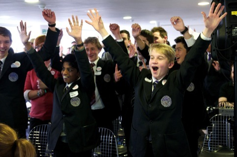 The Trinity School pupils celebrate their win