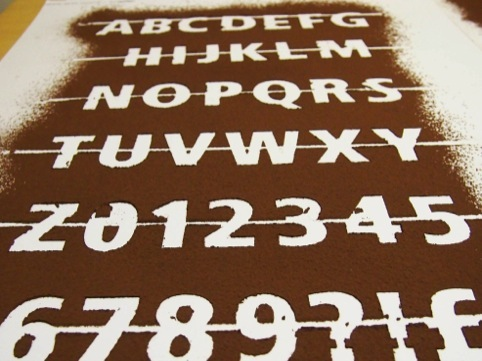 The Fruitiger font is set in chocolate