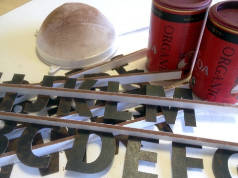 Letter stencils and a generous supply of cocoa