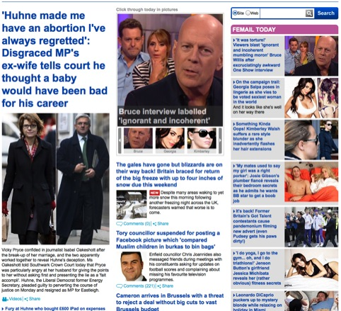 The Daily Mail's three-column homepage, featuring the 'sidebar of shame'