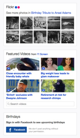 Flickr, video and Facebook apps