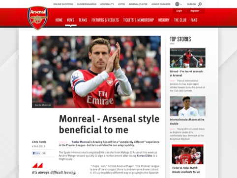 Arsenal news article