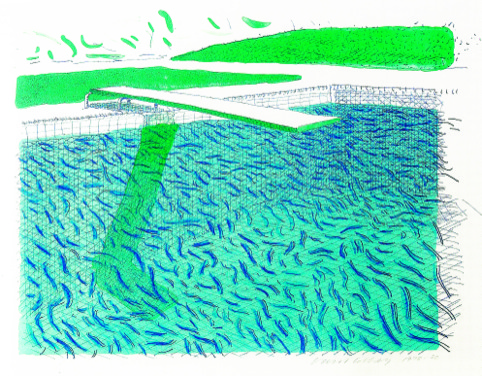 David Hockney Lithographic water made of Lines, Crayon, and a Blue wash Lithograph printed in colours, 1978-80.