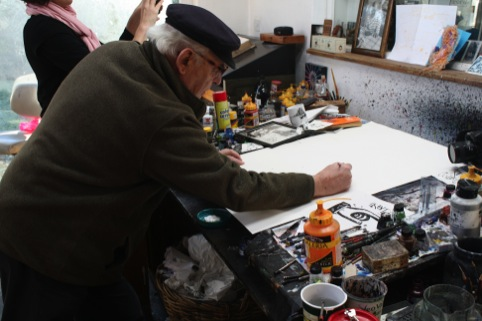 Shooting Ralph Steadman's desk for the homepage
