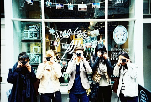 A small army of Lomophiles outside the Lomography Gallery Store
