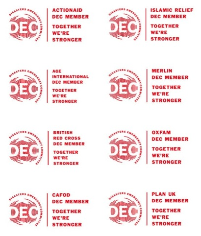 The DEC branding used by individual organisations
