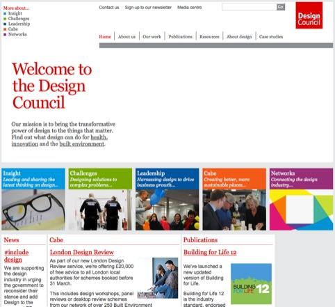 The Design Council's current website