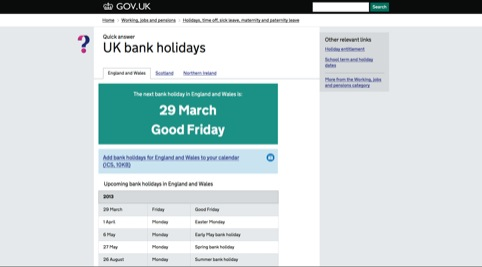 The Gov.uk Bank Holiday page. An earlier version of this page, which used pink, made Margaret Calvert 'feel sick'