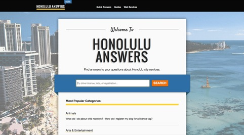 The Honolulu Answers site - inspired by Gov.uk