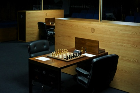 A board at the World Chess London Candidates Tournament, with environmental design by Daniel Weil