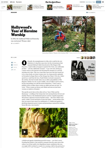 The start of a magazine article