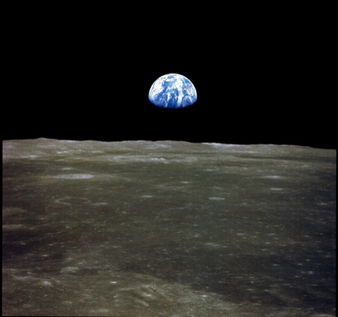 Earthrise over the Moon, taken on the Apollo 11 mission