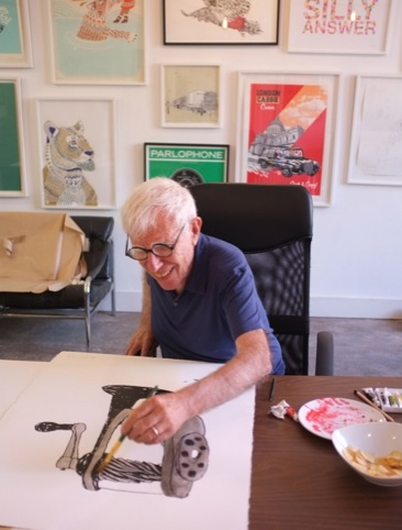 Bob Gill hard at work at Print Club