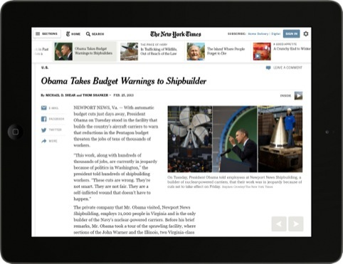 The new site on an iPad