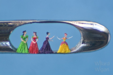 Four glamourous ladies in the eye of a needle, representing the Cinderella story