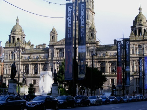Glasgow City Council Chambers featuring the outgoing branding