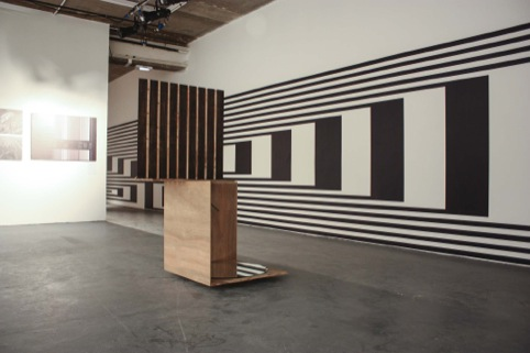 The huge wall graphic, and a stripey installation piece