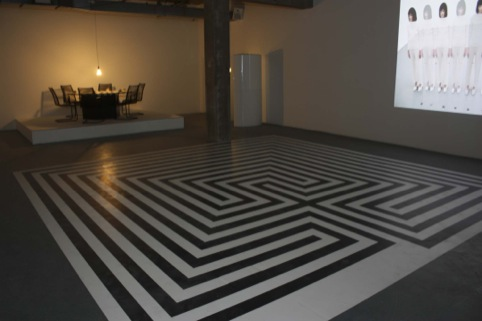 The labyrinth floor, where events and talks will be held