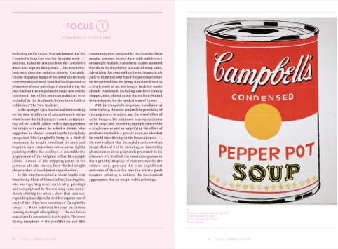 Andy Warhol pages, showing the iconic Campbell's can