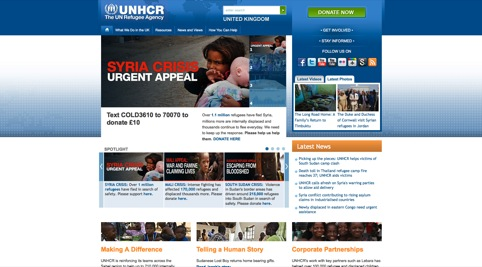 The current UNHCR website