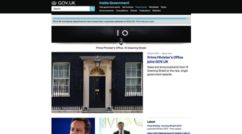 The Number 10 website on Gov.uk