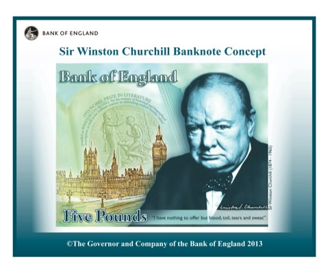 Concept design for the new £5, featuring Winston Churchill