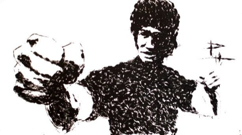 Bruce Lee  karate chopped painting 2007