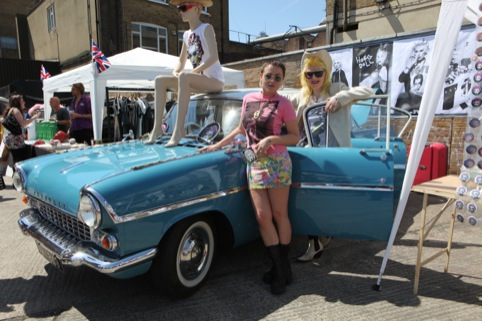 Jaime Winstone and Pam Hogg at the Vauxhall Art Car Boot Fair 2012