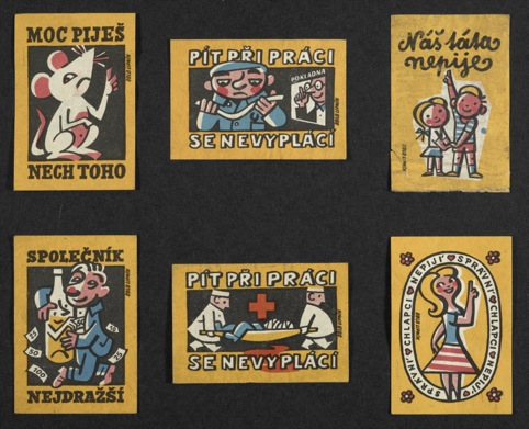 Health warnings on 1960s Czech matchboxes