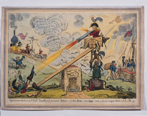Representation of Ye Gull Trap and Ye Principal Actors in Ye New Farce Called Ye Hoak by George Cruikshank, published 6 April 1814