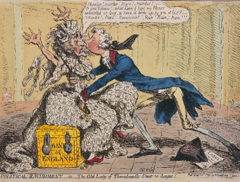The Old Lady of Threadneedle Street in Danger by James Gillray 22 May 1797