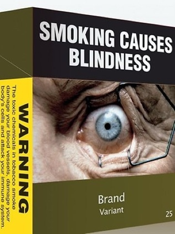 Debranded cigarette packaging in Australia features graphic warning messages