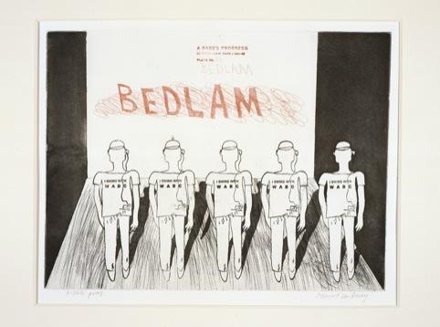 David Hockney, Bedlam, A Rake's Progress (portfolio of 16 prints), 1961-63