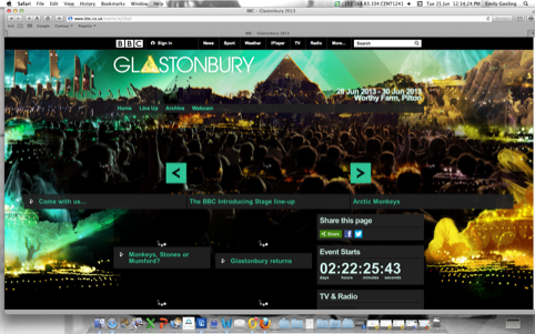 BBC Glastonbury homepage