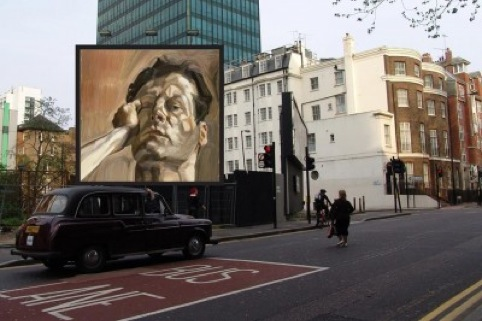 Billboard mock-up showing Lucian Freud's Mans Head (Self Portrait I), 1963