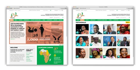 Web design for Campaign on Accelerated Reduction of Maternal Mortality in Africa